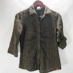 The North Face Button Shirt Blouse Brown Stripe Co